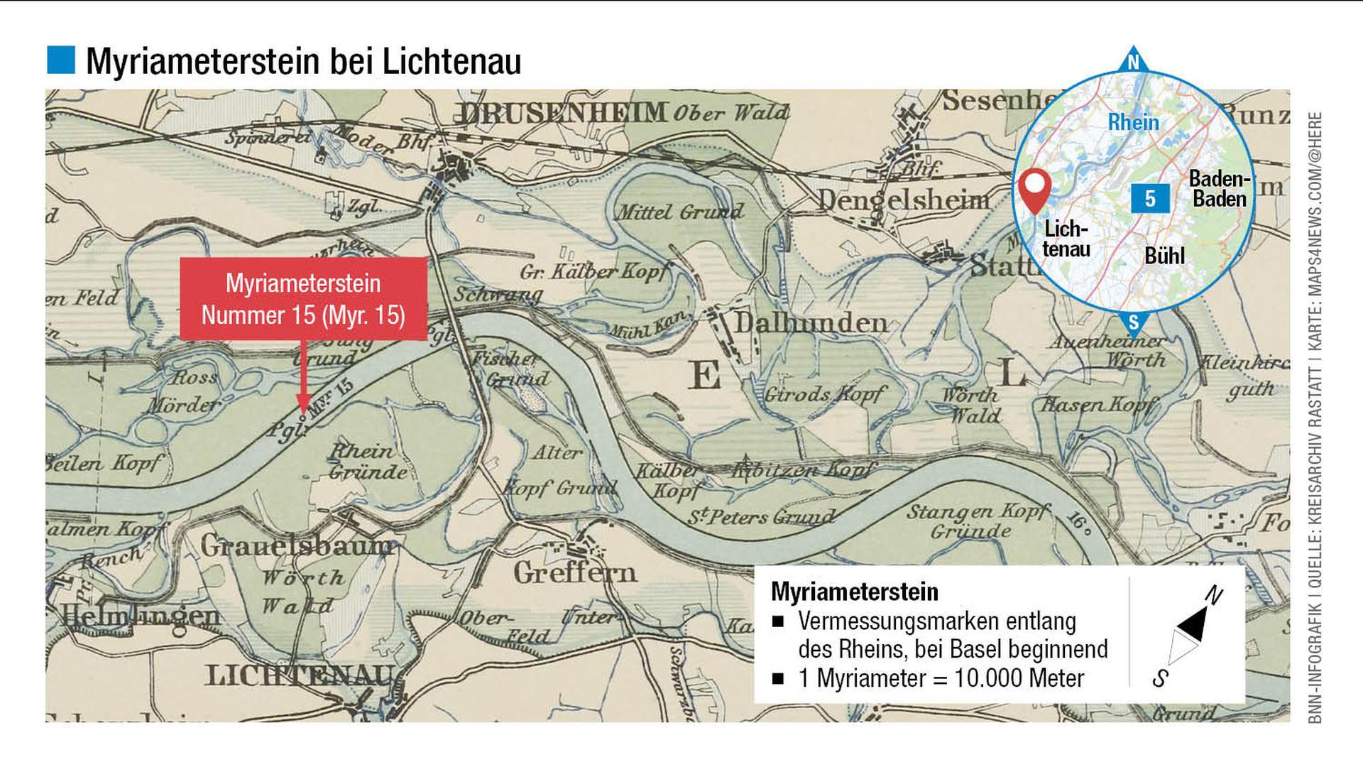 Nummer 15: Die Myriametersteine tragen römische Ziffern. In der historischen Rheinstromkarte von 1889, aufbewahrt im Kreisarchiv Rastatt, ist diese Marke eingezeichnet.