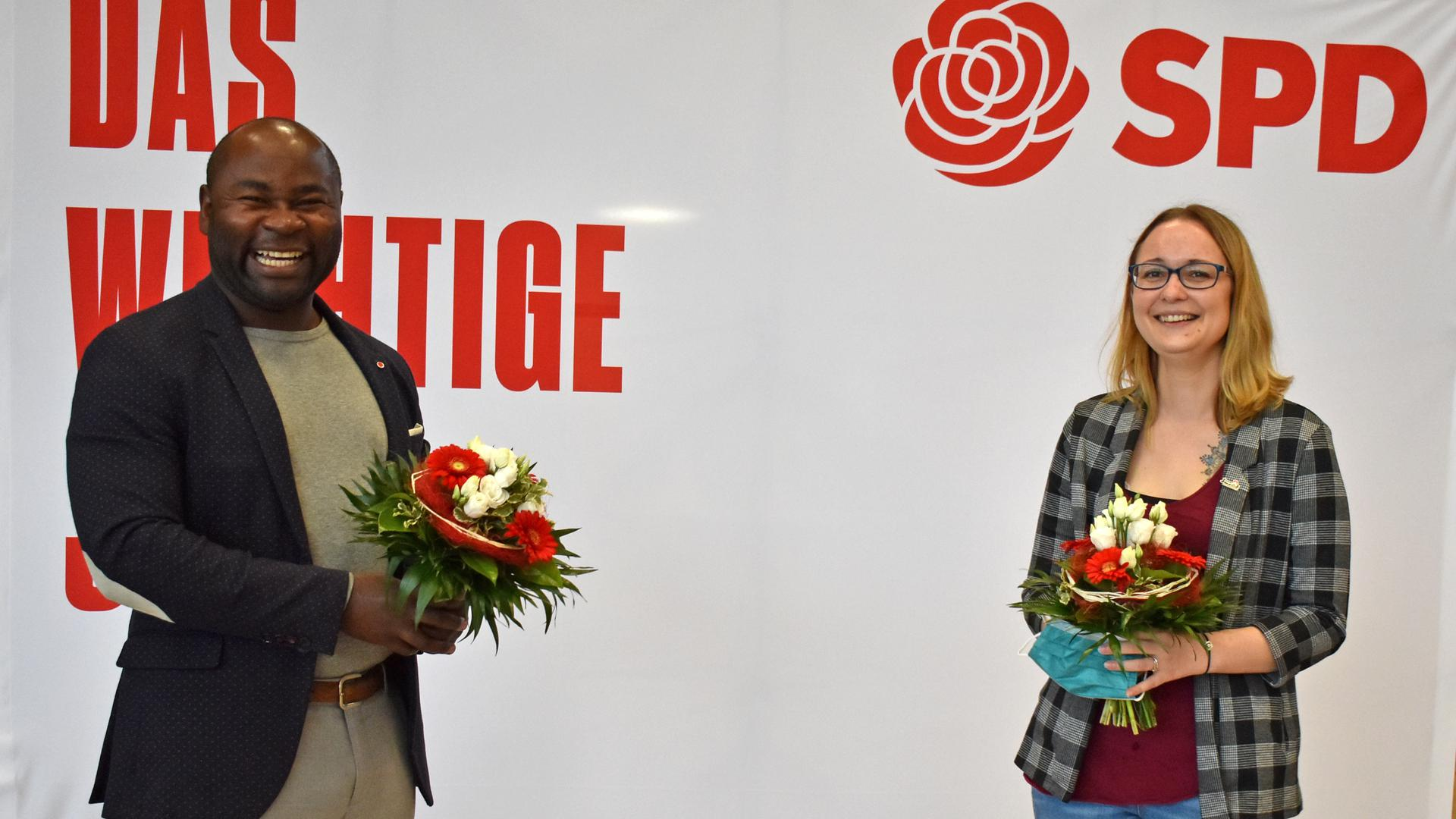 Ziehen in den Landtagswahlkampf: Die Delegierten wählten Emile Yadjo-Scheuerer als Erstkandidaten und Vanessa Blum als Zweitkandidatin für den Wahlkreis 33 Baden-Baden.