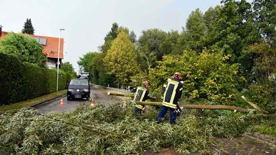 Unwetter  Unser Bild zeigt die Einsatzkräfte der Feuerwehr Bühl Abteilung Weitenung bei den Aufräumungsarbeiten in Weitenung in der Weitenunger Straße, Richtung Müllhofen. Für den Verkehr musste  die Straße zeitweise voll gesperrt werden.