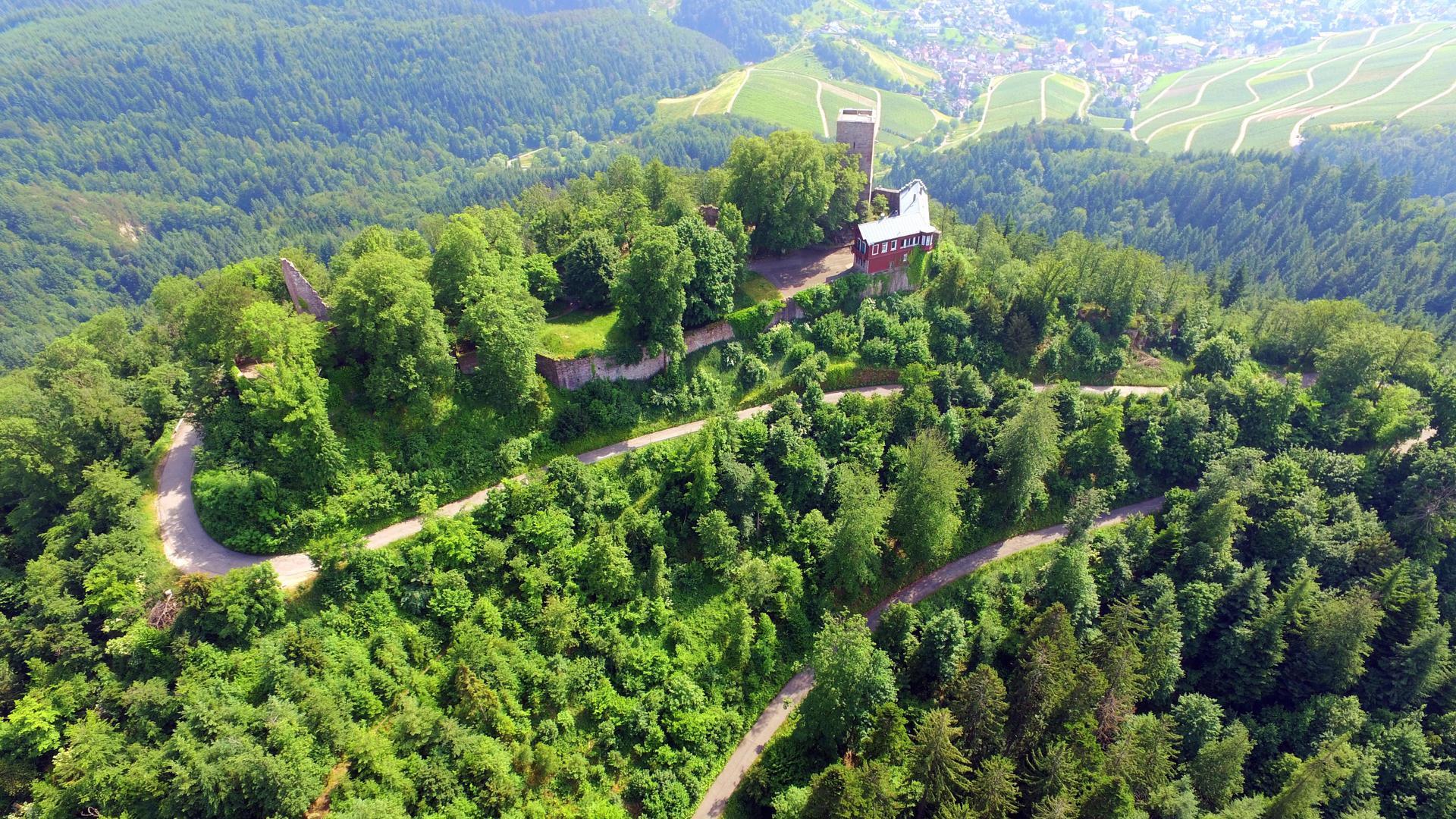 Hoch oben: Probleme bereitet auch der Zustand der rund 1,5 Kilometer langen Anfahrt und die Wendeplatte links am Eingang der Burg. Eine wichtige Voraussetzung für eine Neueröffnung der Gastronomie auf der Yburg.
