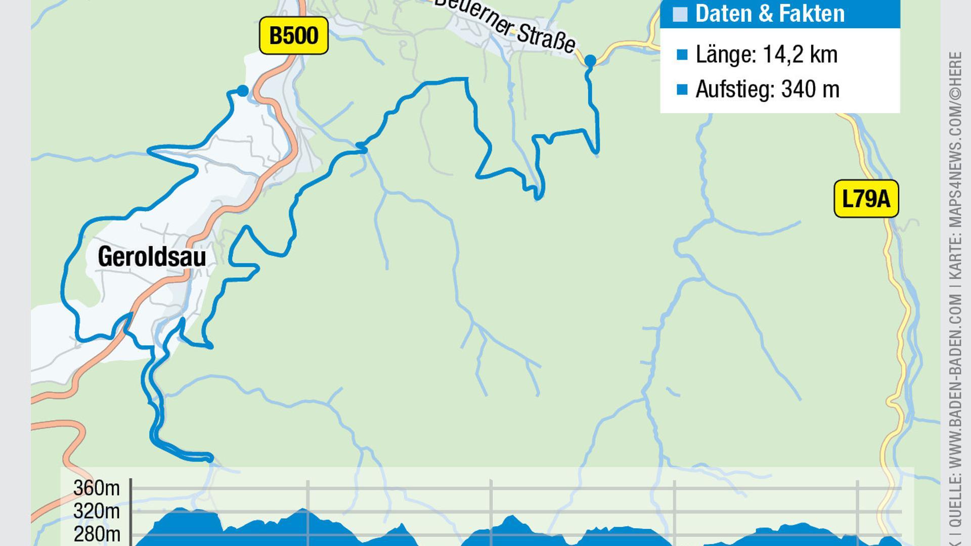 Karte mit der Route der dritten Etappe des Panoramawegs.