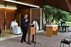 Christof Florus hielt eine Ansprache bei der Gedenkfeier zu Ehren der Corona-Pandemie Verstorbenen im Kurpark Bad Rotenfel
