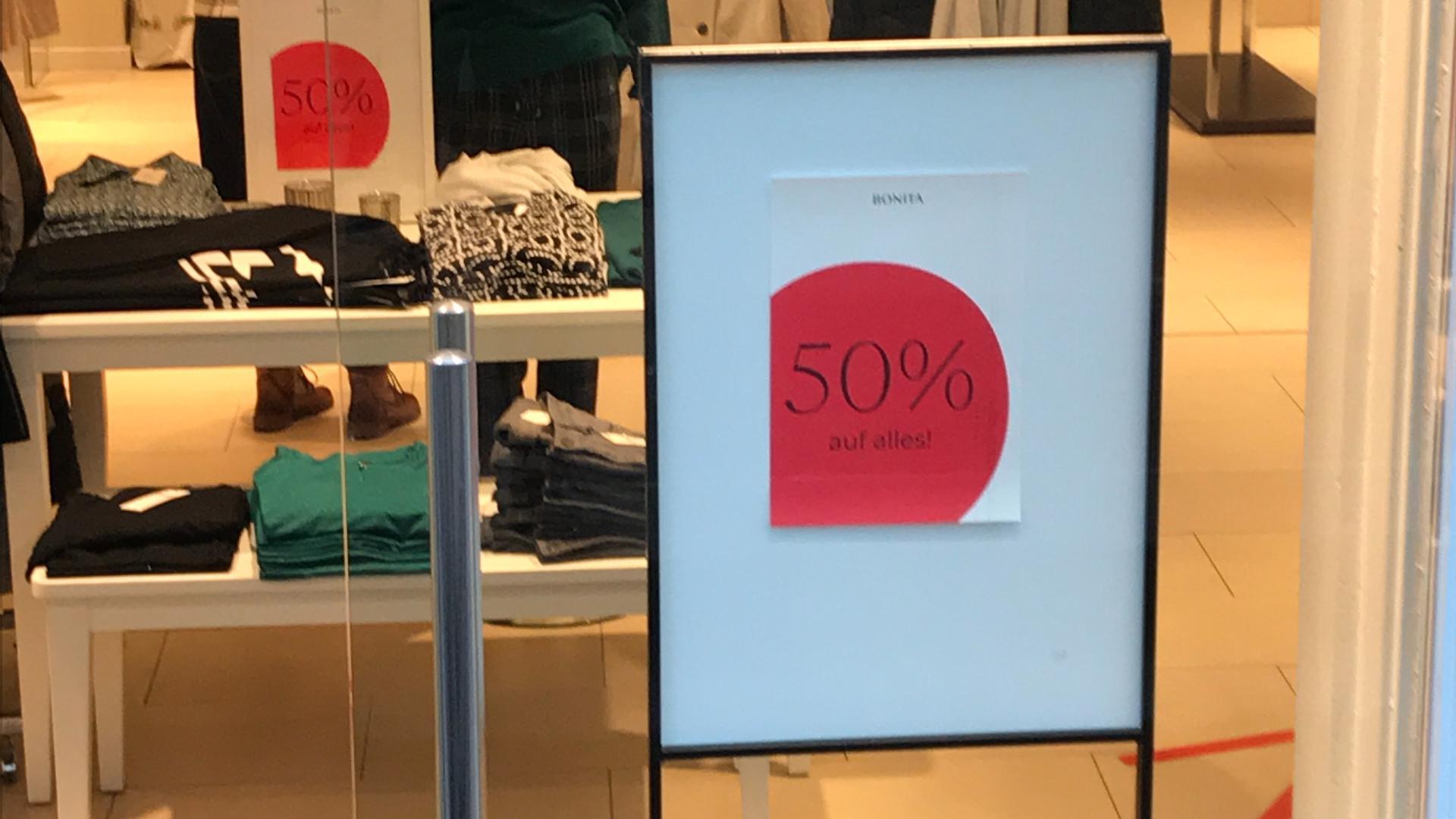 Blick auf Rabattangebot 50 %