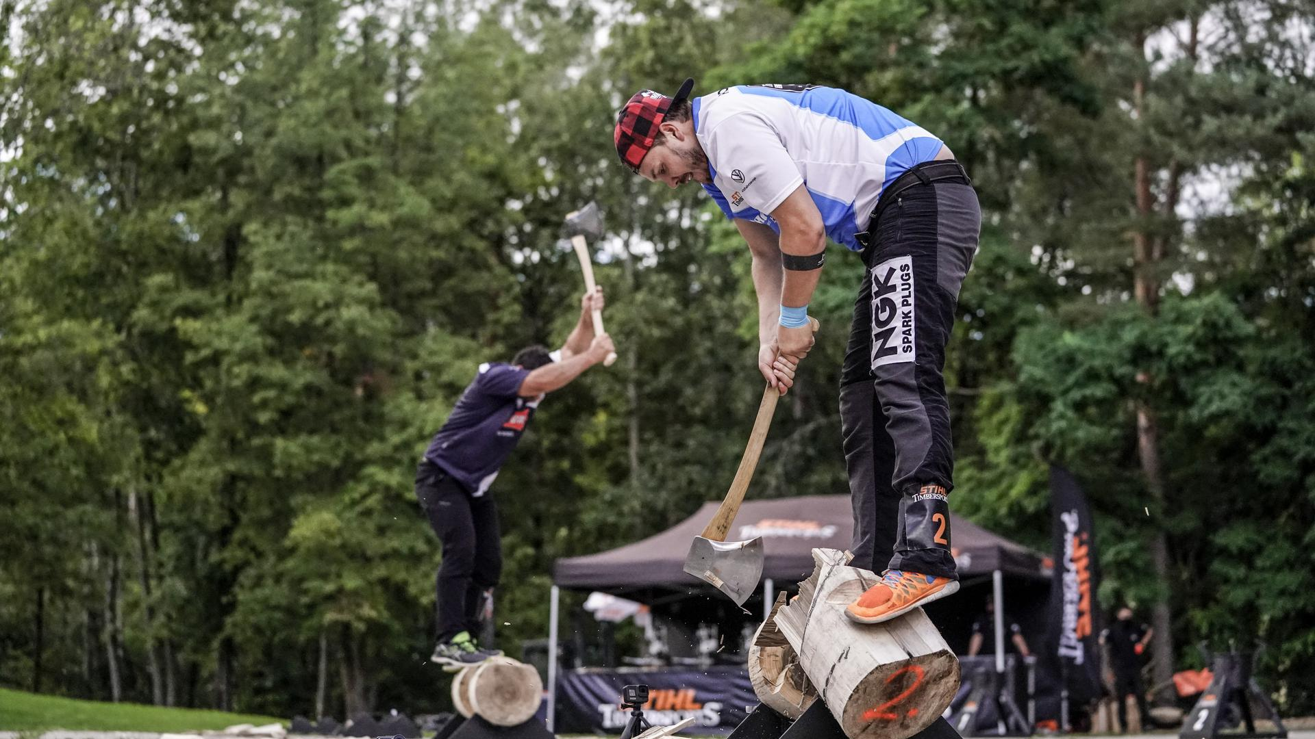 Robert Ebner of Germany competes in the Underhand Chop discipline during the STIHL TIMBERSPORTS® Amarok Cup in Mellrichstadt, Germany on August 23, 2020.