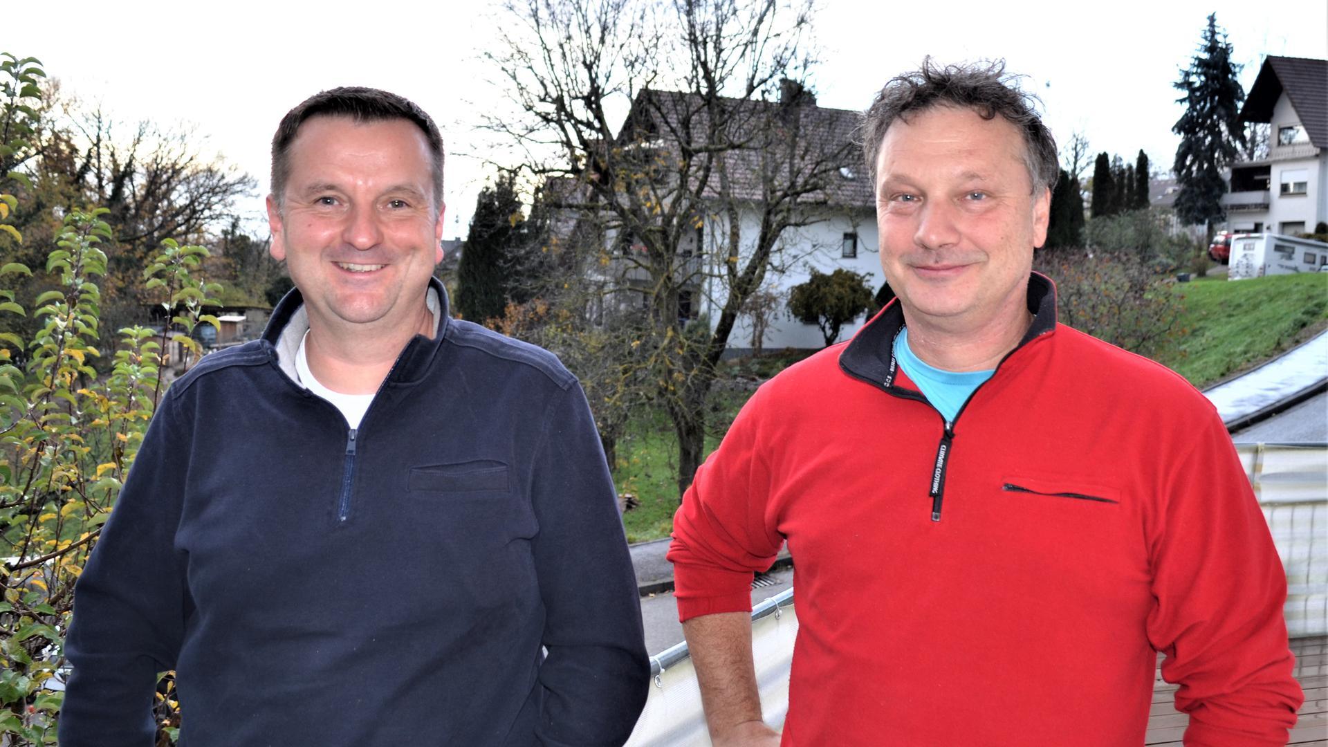 """Toni Böck und Dietrich Knoerzer (von links), sind gleichberechtigte Sprecher der Bürgerinitiative """"Keine Deponieerweiterung – kein PFC"""", Deponie Oberweier (Gaggenau)"""