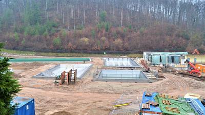 Baustelle im Waldseebad Gaggenau im Februar 2021
