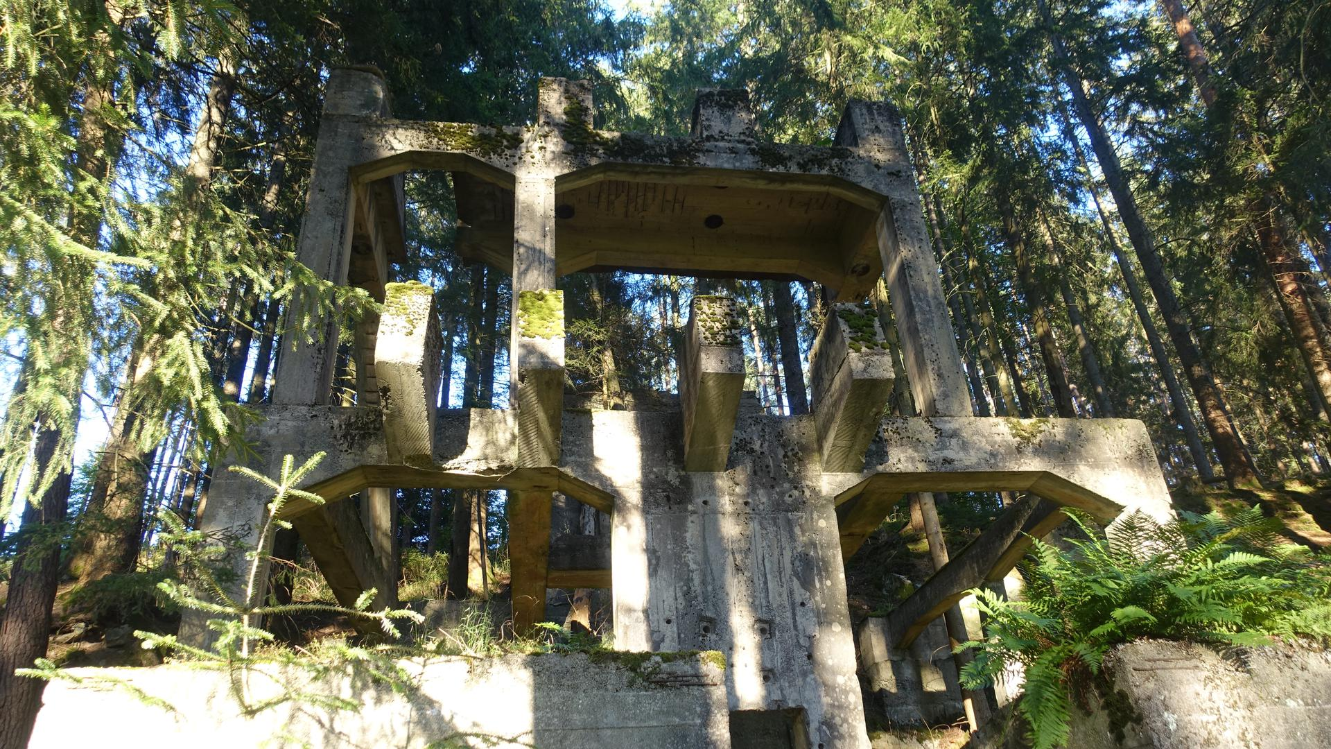 Betonskelett im Wald Schneidersköpfle Schwarzenbachtalsperre Bau