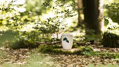Eine Urne steht auf dem Waldboden.