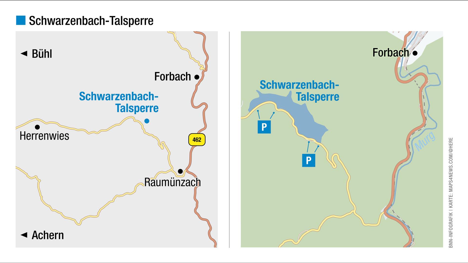 Blick auf die Landkarte: Hier liegt die Schwarzenbach-Talsperre.