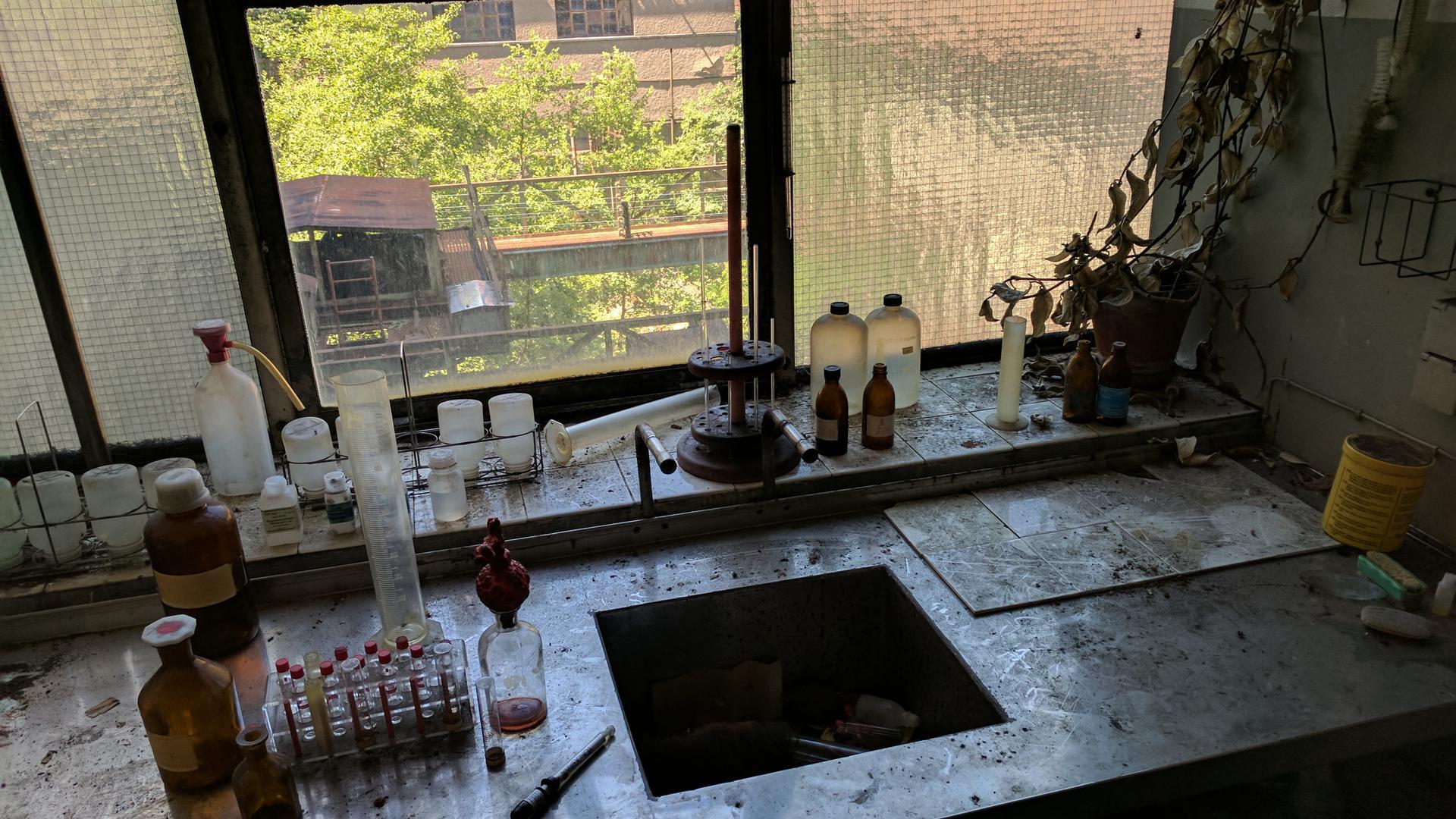 Ein altes Labor auf dem leerstehenden Holtzmann-Areal in Forbach