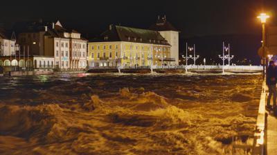 Hochwasser am 4. Januar 2018 an der Gernsbacher Stadtbrücke
