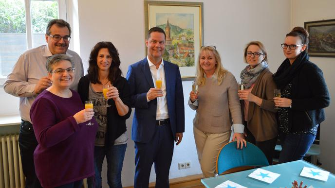Ein Grund zum Feiern: Toni Huber wurde im März 2019 zum neuen Landrat des Landkreises Rastatt gewählt.