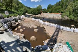 Baustelle für die zukünftige Brücke in Weisenbach über die Murg