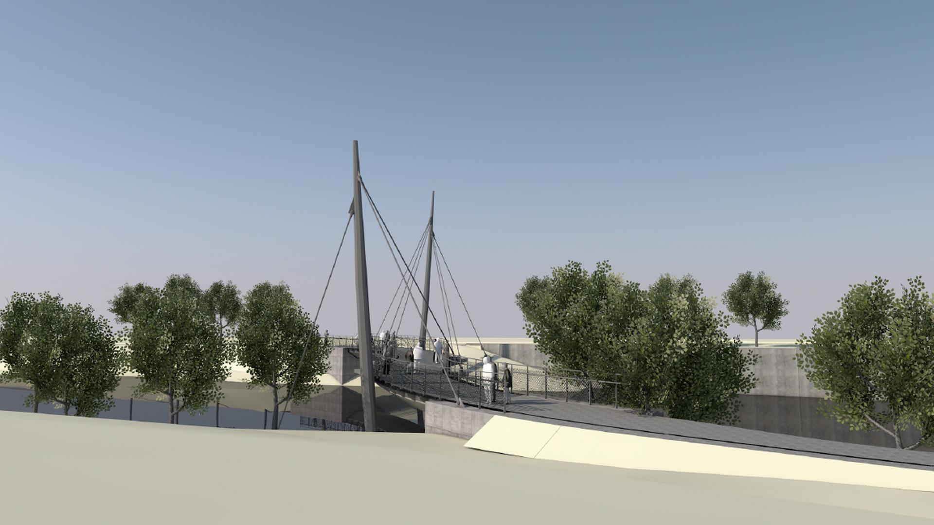 geplante Radfahrer- und Fußgängerbrücke über die Murg bei Weisenbach