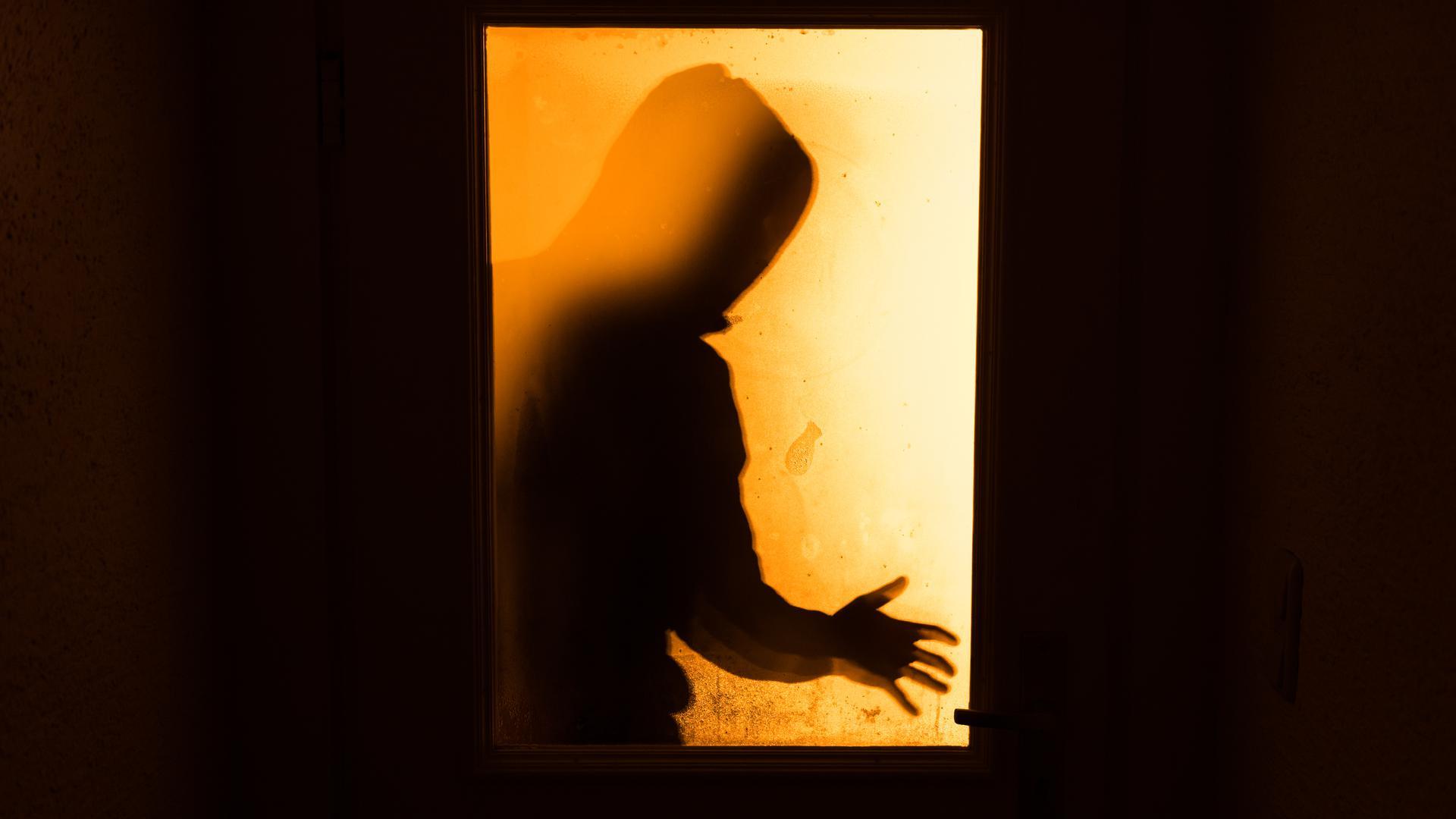 ARCHIV - ILLUSTRATION - DerSchatten eines Mannes ist am 19.01.2016 hinter einer gläsernen Wohnungstür in Aufseß (Bayern) zu sehen. Die Staatsanwaltschaft Hamburg wird im Kampf gegen Einbrecher personell verstärkt. Fünf zusätzliche Staatsanwälte sowie fünf weitere Mitarbeiter sollen ab dem kommenden Jahr eingesetzt werden. Foto: Nicolas Armer/dpa (zu dpa «Kampf gegen Diebe: Staatsanwaltschaft Hamburg bekommt mehr Stellen» vom 23.06.2016) +++(c) dpa - Bildfunk+++ | Verwendung weltweit ABB Achern