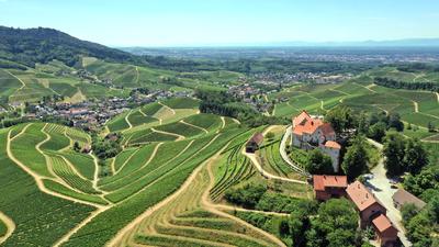 Schloss Staufenberg mit Blick auf Durbach und in die Rheinebene