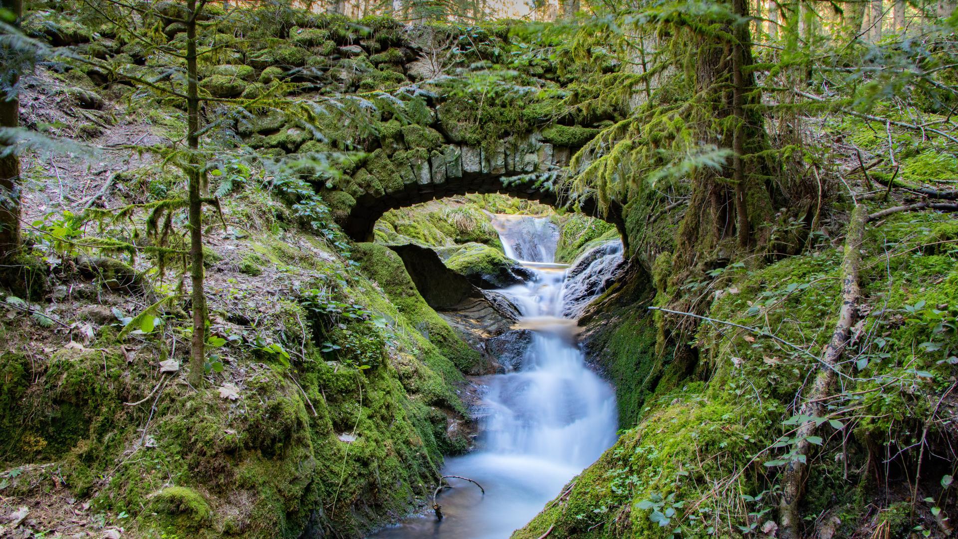 Wildromantischer Schwarzwald: Der Gottschlägbach mit seinen alten Steinbrücken speist die Edelfrauengrab-Wasserfälle oberhalb von Ottenhöfen.