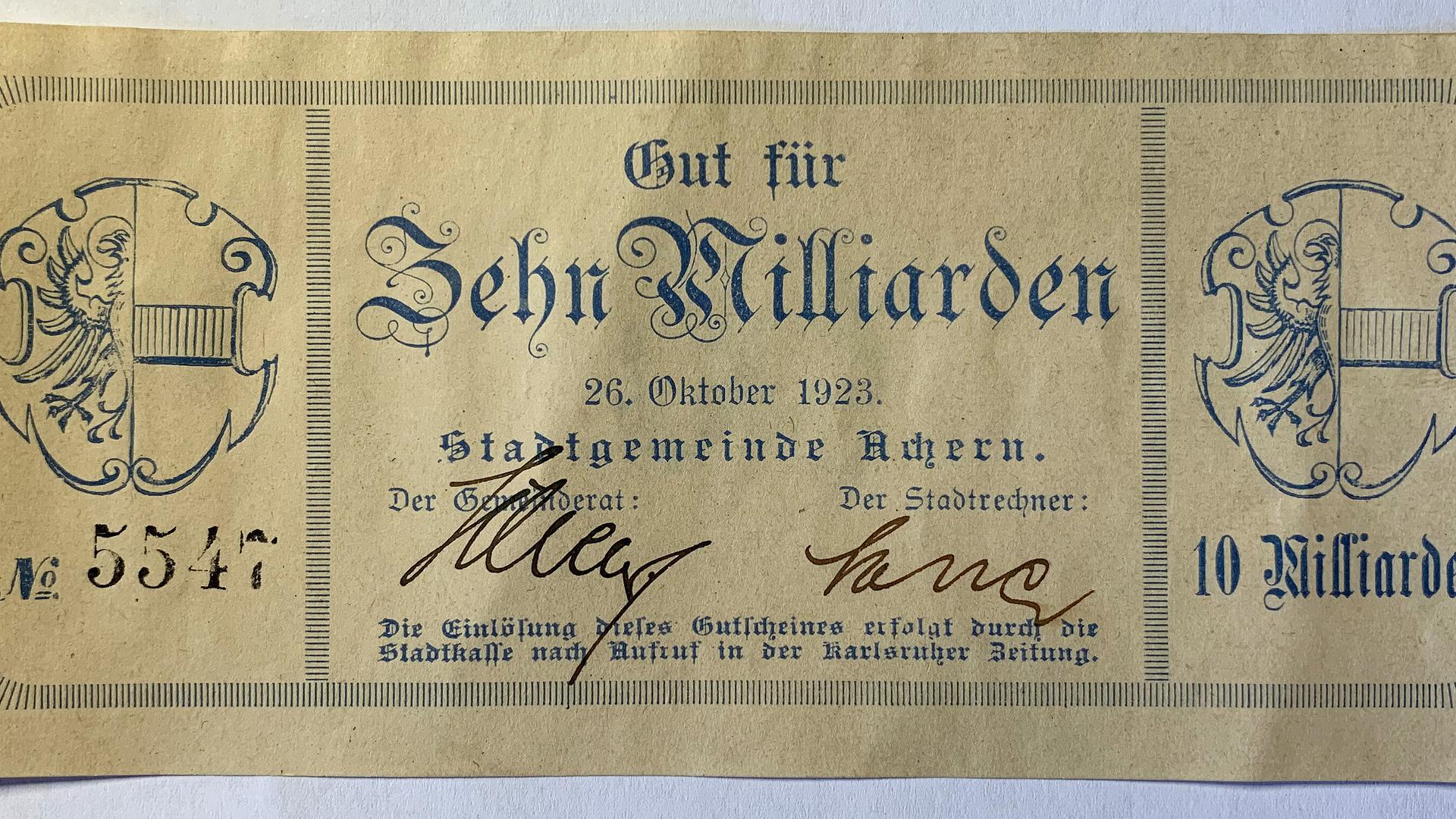 Vor 100 Jahren begann die Inflation zu galoppieren - Karl Römer mit Acherner Notgeld