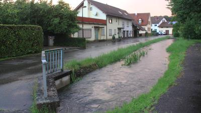Dorfbach in Achern/ Großweier nach Starkregen am 16.7
