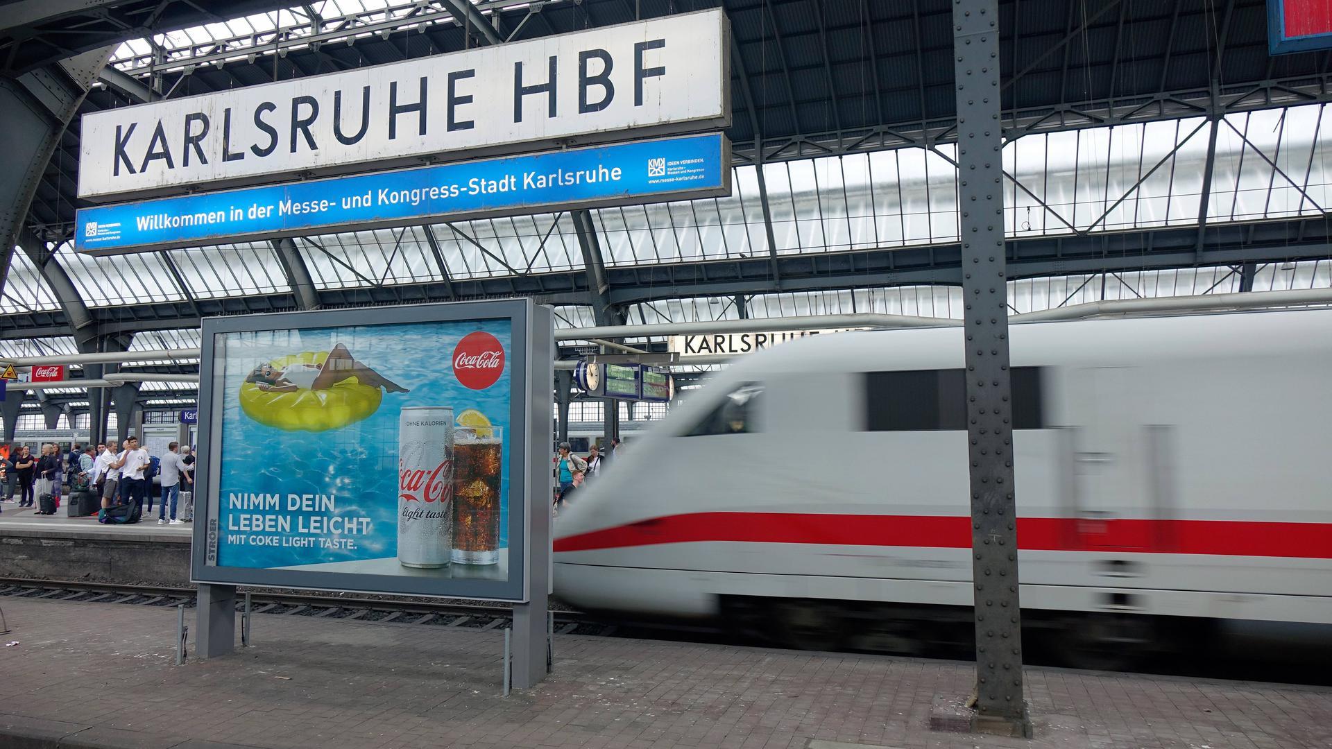 Ein ICE am Karlsruher Hauptbahnhof. (Symbolbild)