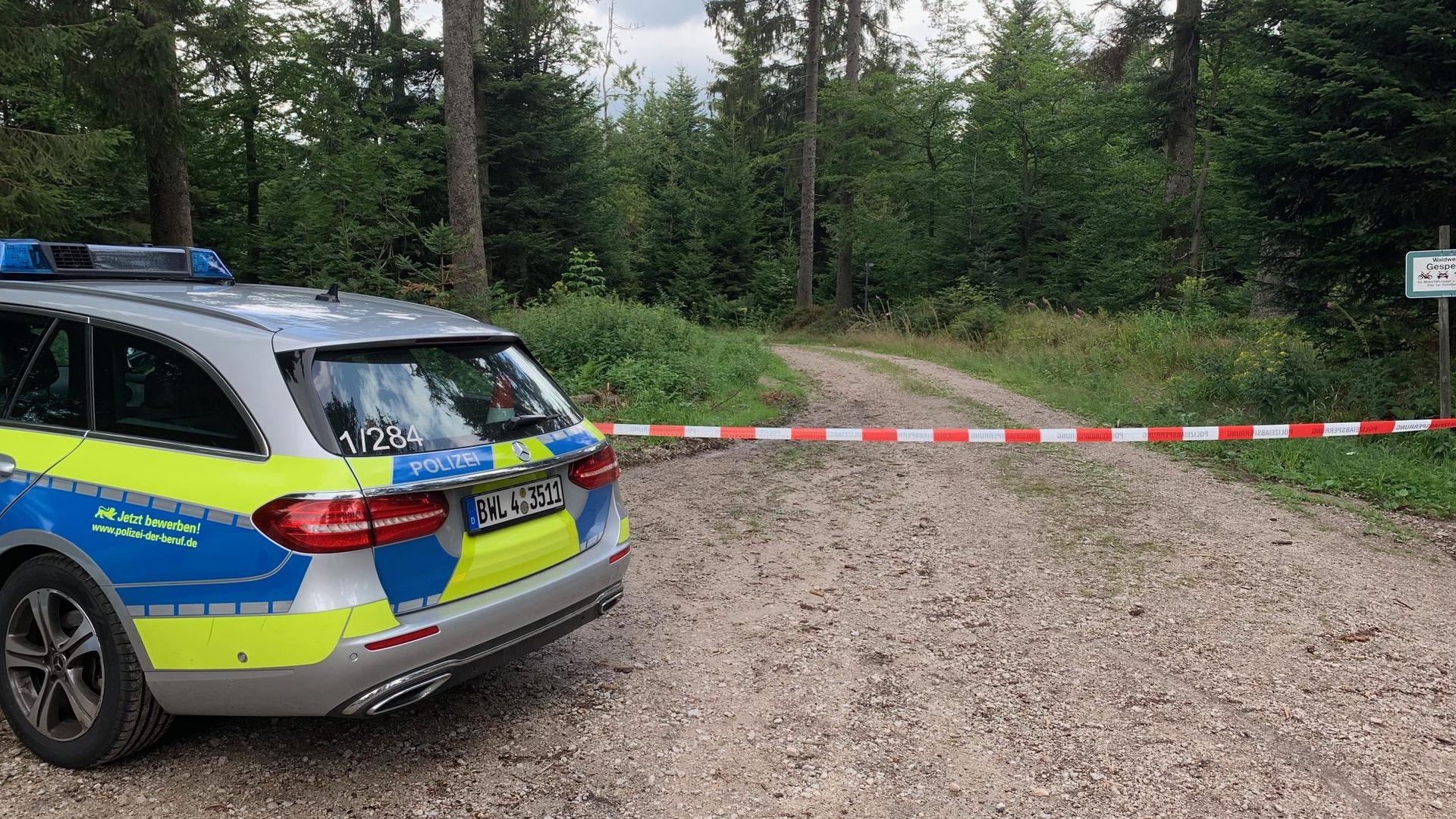 In einem Waldstück unweit der Schwarzwaldhochstraße wurden zwei Leichen gefunden. Die Polizei sperrte die Fundstelle weiträumig ab.