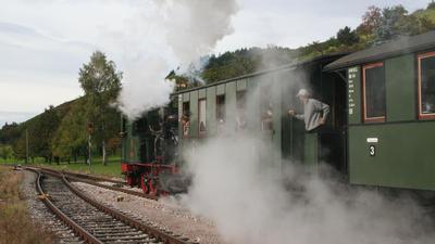 Anfahrender Dampfzug im Achertal vor Schwarzwald-Kulisse