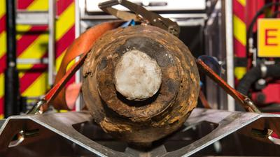 Eine entschärfte Bombe aus dem Weltkrieg