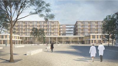 Ansicht des Siegerentwurfs Ludes Architekten – Ingenieure GmbH für den Klinikneubau in Offenburg.