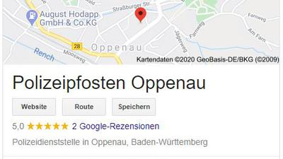 """Zu sehen ist ein Screenshot des Google-Beitrags, der """"Polizeipfosten Oppenau"""" heißt."""