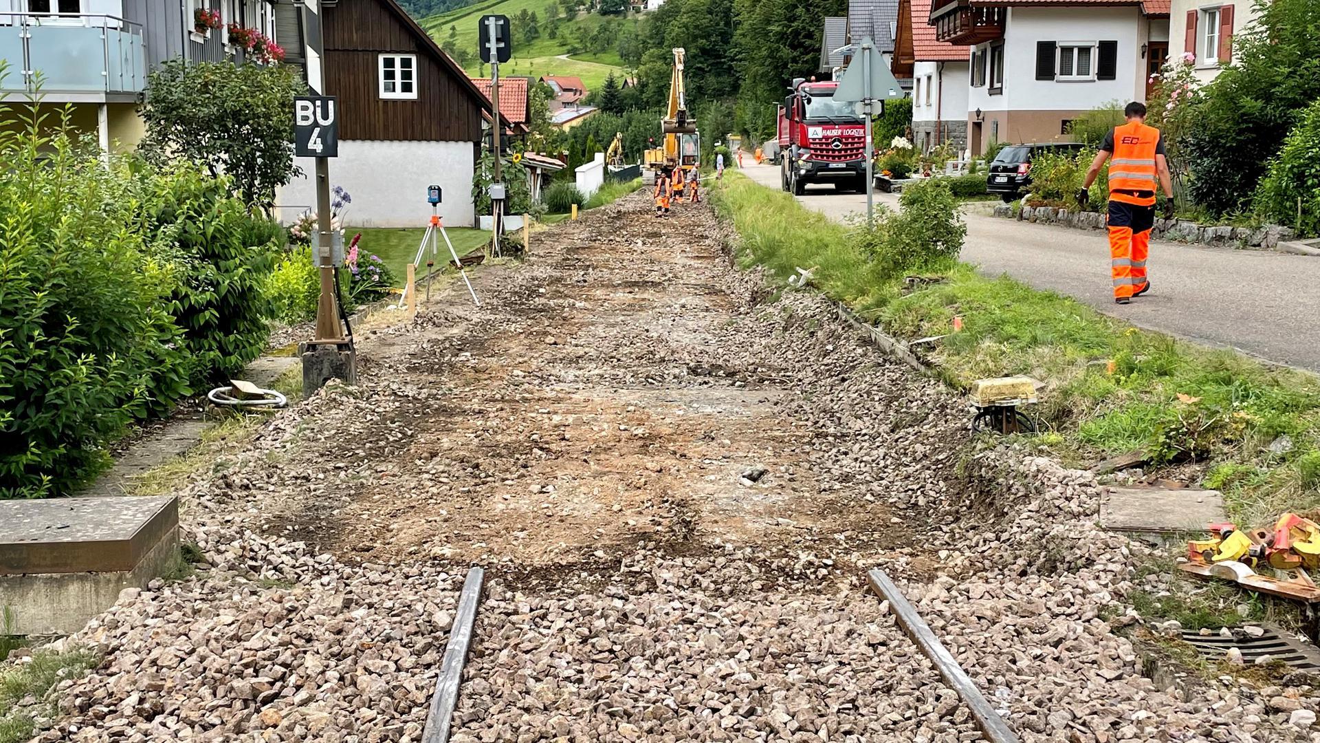 Arbeiten an Gleisen in Furschenbach