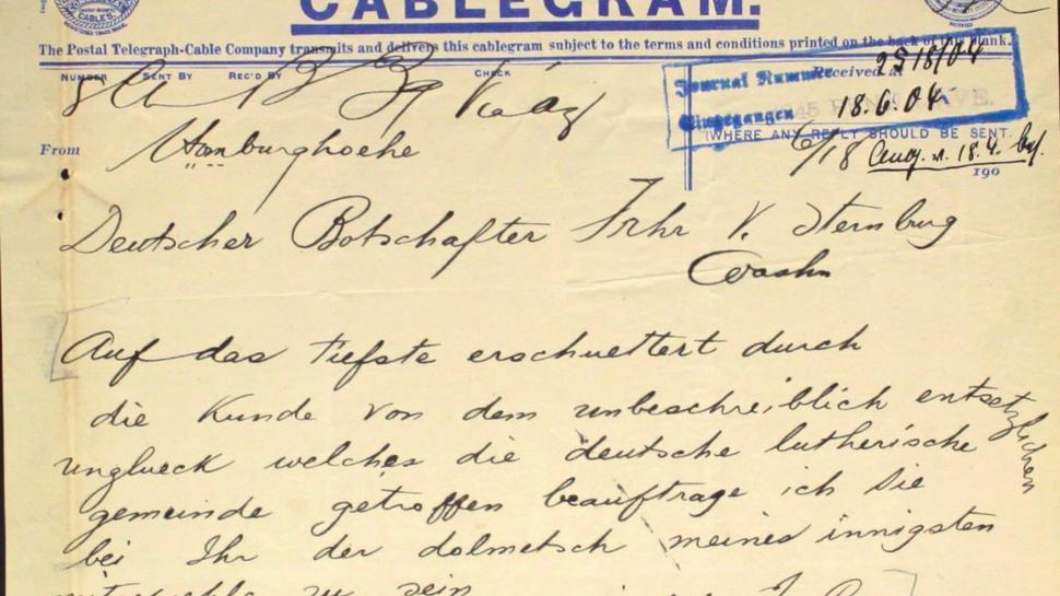Der deutsche Kaiser Wilhelm II. bekundet am 18. Juni sein Beileid per Überseetelegramm.