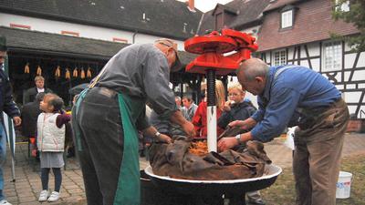 Als das Rheinauer Heimatmuseum noch mit Leben gefüllt war: Trottfest 2010 im Musuemshof