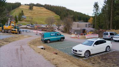 Bauarbeiten Parkplatz am neuen Nationalparkzentrum Ruhestein, Stand Mitte November 2020