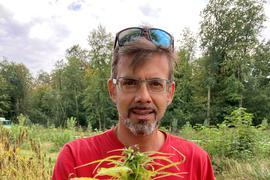 """Stefan Karcher vom Start-up """"Hämp"""" hält eine Hanf-Pflanze in der Hand."""