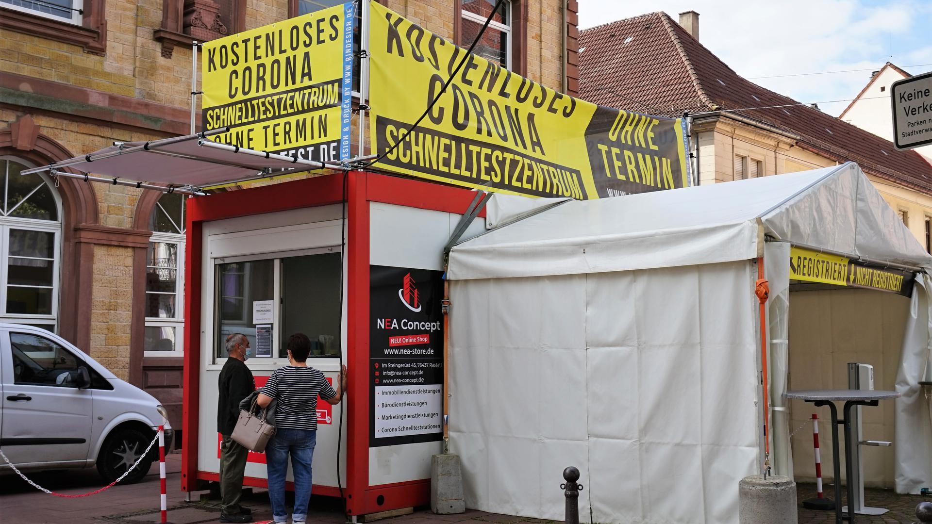 Ein Corona-Testzentrum in Rastatt