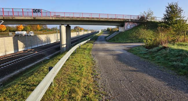 Weg, Brücke, Bahntrasse