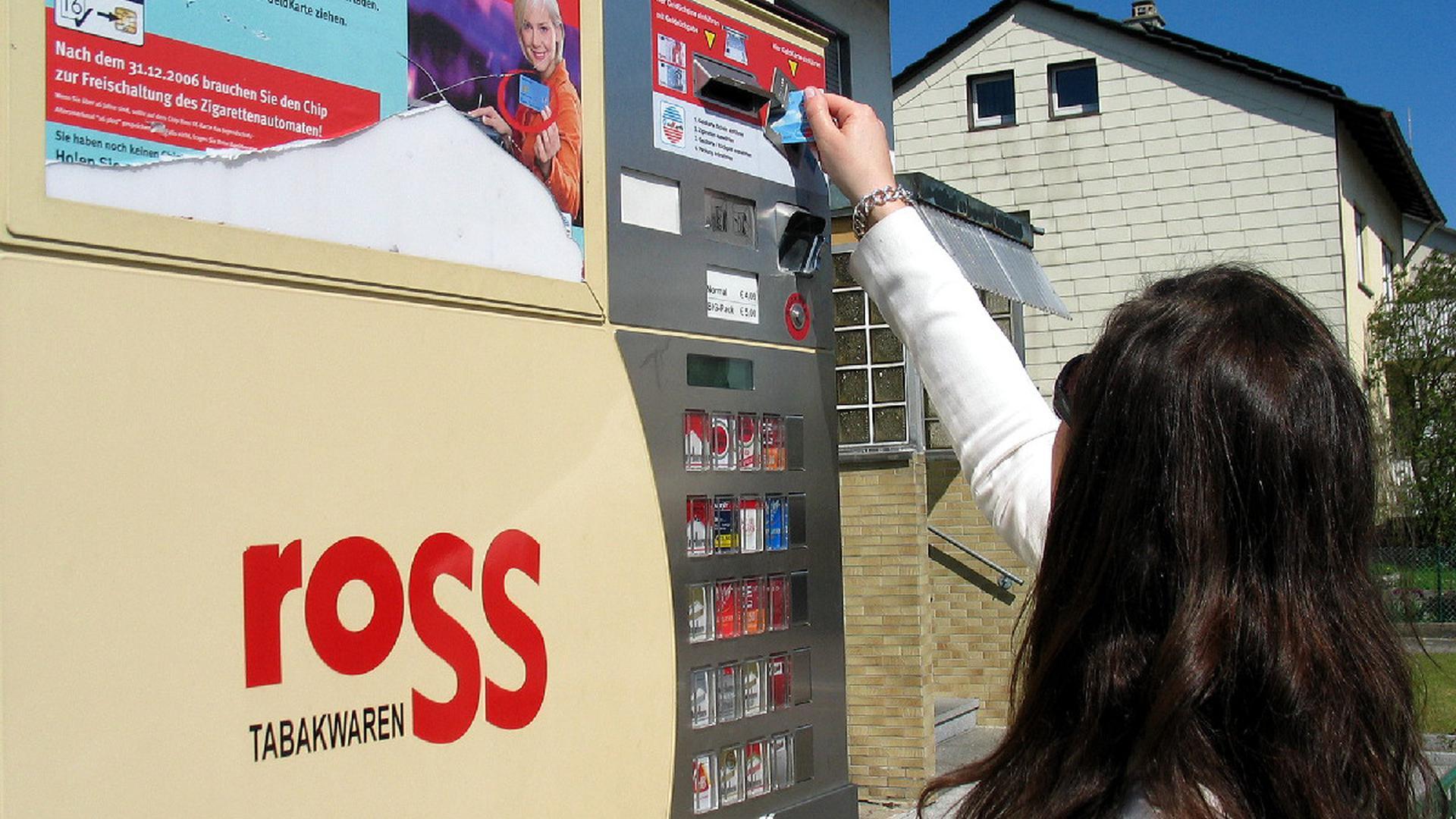 Zigaretten Tabak Zigarettenautomaten nur noch mit Karte