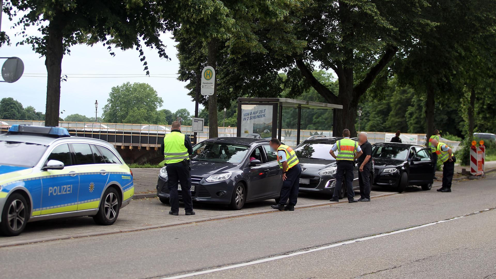Eine Polizeikontrolle.
