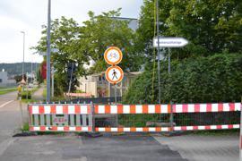 Gesperrter Radweg in Ottenau