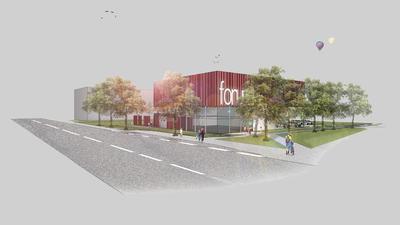 Zukunftsvision: Passend zum Kinokomplex präsentiert sich der Gebäudekomplex auf der gegenüberliegenden Seite. In ihm sollen  Gastronomie, ein Laden und eine Boulderhalle untergebracht werden.