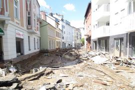 Eine zerstörte Straße in Bad Neuenahr.