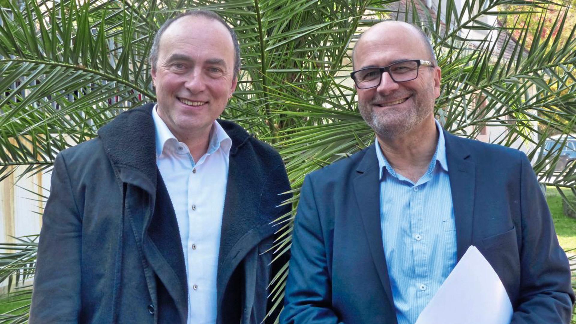 Ulrich Schumann (links) und Andreas Adam von der Bürgerinitiative.