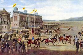 Startschuss vor bald 163 Jahren: Am 5. September 1858 fanden in Iffezheim die ersten Rennen statt. Eine Lithographie um 1861 aus dem Archiv des Stadtmuseums Baden-Baden dokumentiert die Anfänge im badischen Renndorf.