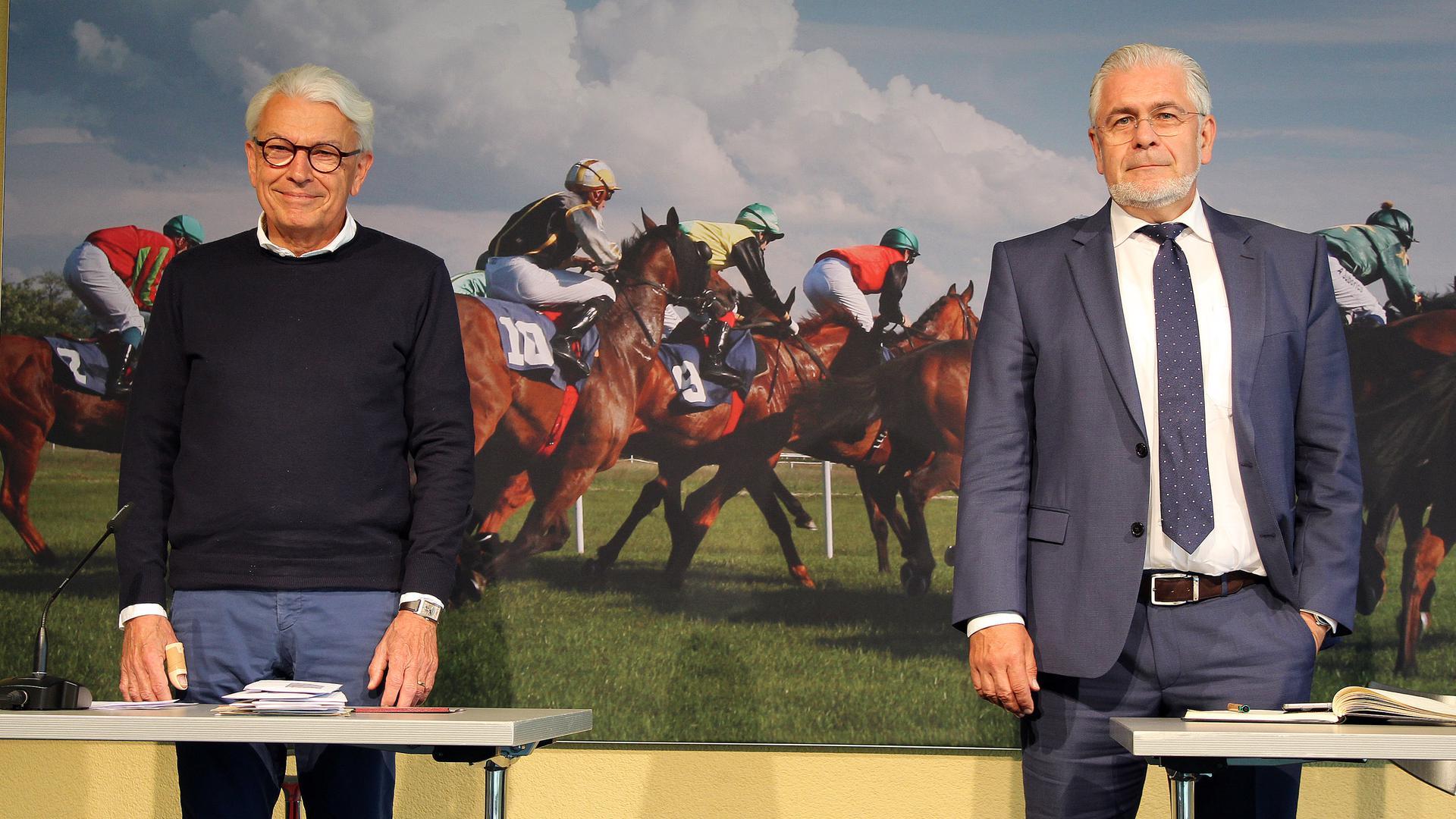 Die beiden turfbegeisterten Motoren des künftigen Fördervereins: Peter Werler und Martin Kronimus (von links) stellen sich am Donnerstag zur Wahl – der eine als Gründungsvorsitzender, der andere als dessen Stellvertreter.