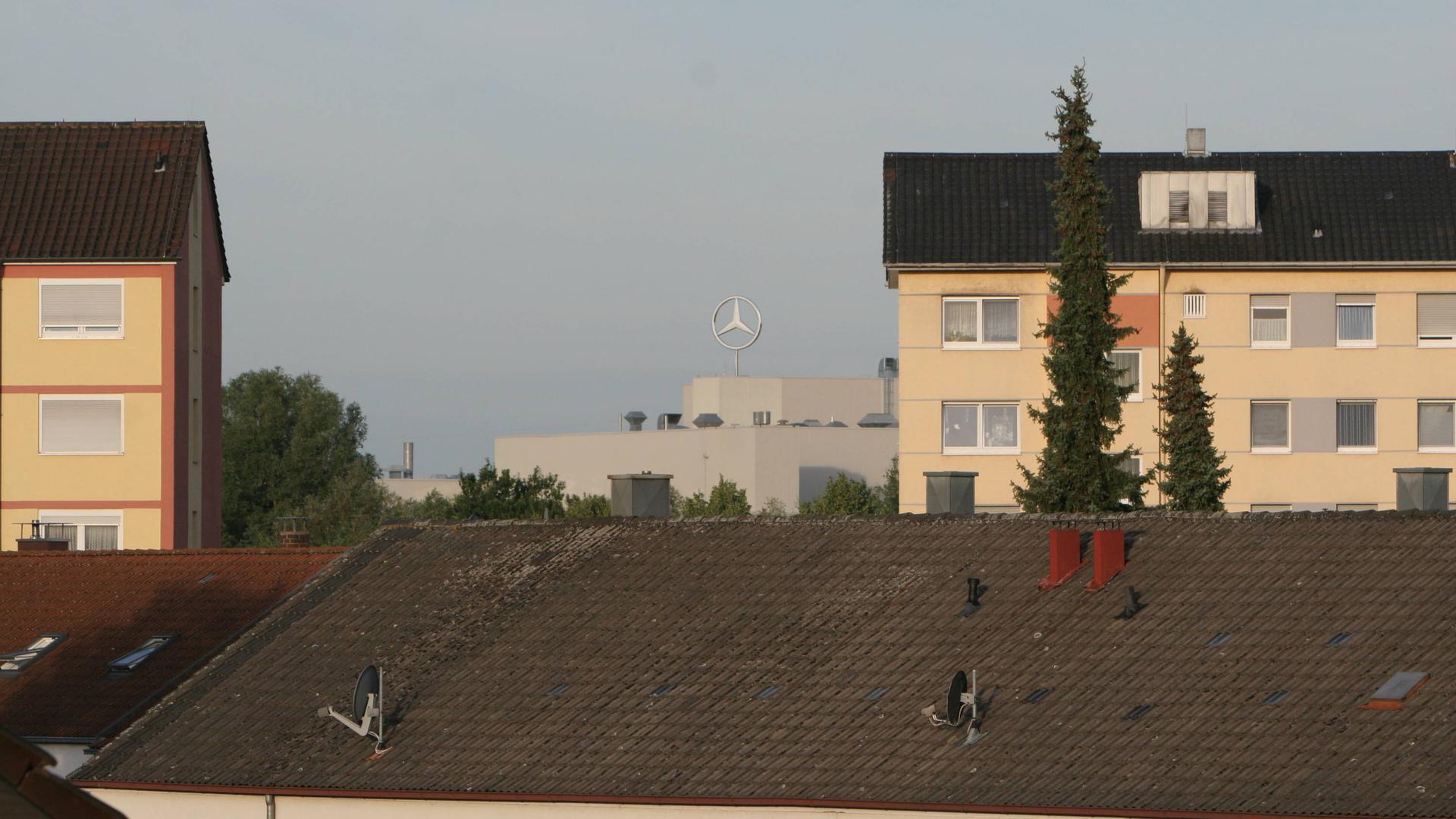 Dicht dran: Zahlreiche Wohnblocks stehen im Oberwald dicht am Rastatter Mercedeswerk.