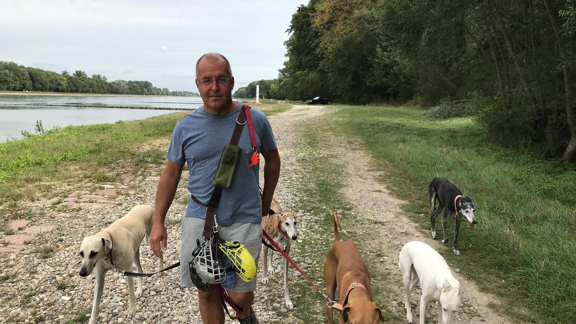 Ein Mann mit fünf Hunden an einem Flussufer.