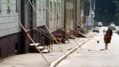 Hausfassaden werden nach dem Beben sicherheitshalber abgestützt.