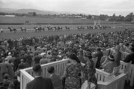 Vorbeizug: Vor dem Rennen paradieren die Reiter mit ihren Pferden an den Zuschauern der Iffezheimer Galopprennbahn vorbei zu ihren Startboxen.