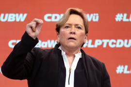 Susanne Eisenmann, Spitzenkandidatin der baden-württembergischen CDU für die kommende Landtagswahl, nimmt am Online-Parteitag der CDU Baden-Württemberg teil.
