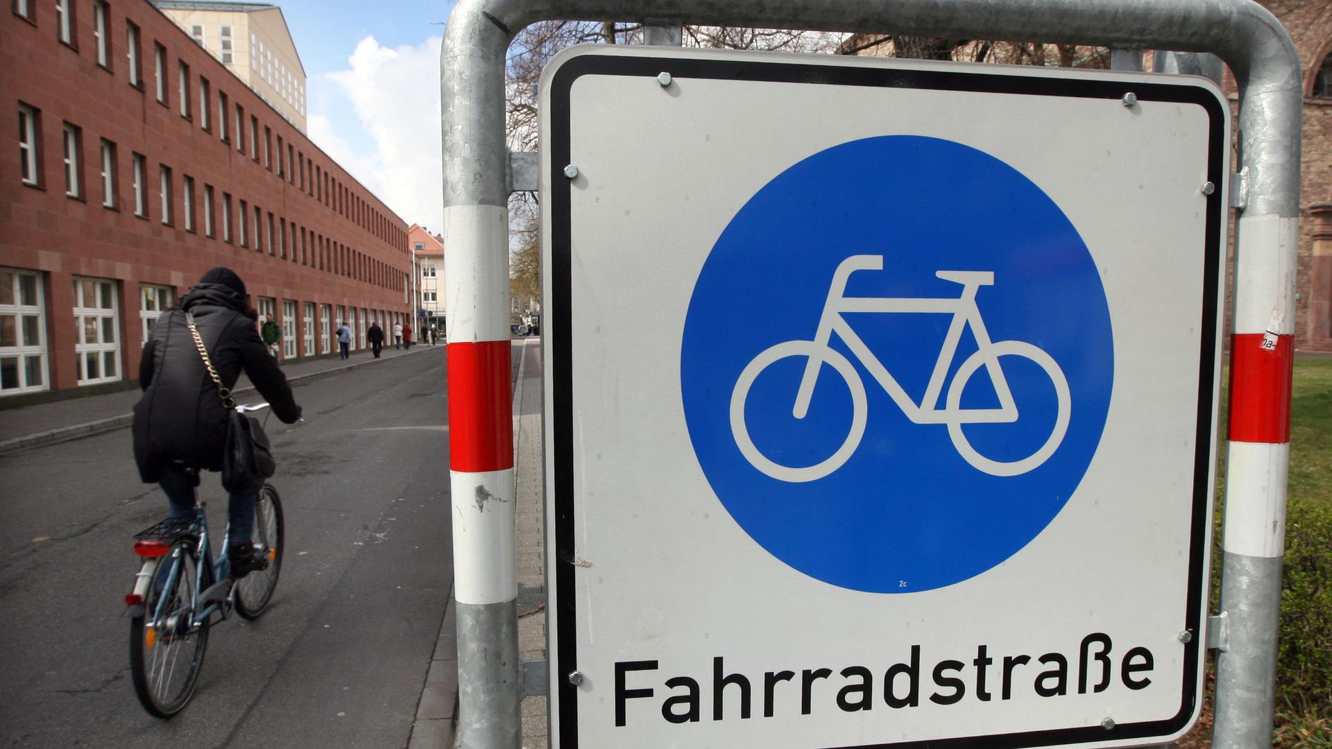 """ARCHIV - Ein Radfahrer fährt in der Innenstadt von Karlsruhe an einem Schild vorbei, das auf eine Fahrradstraße hinweist (Archivfoto vom 25.03.2008). Der Allgemeine Deutsche Fahrradclub (ADFC) sieht gute Zeiten für einen zunehmenden Umstieg auf zwei Räder. Foto: Uli Deck dpa/lsw (zu lsw """"Radverband: Umsteigen aufs Rad wird attraktiver"""" vom 01.05.2011)  +++(c) dpa - Bildfunk+++"""